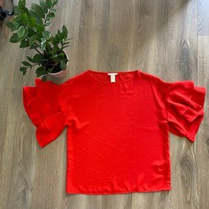 H&M Coral Layered Frills Short-Sleeve Blouse